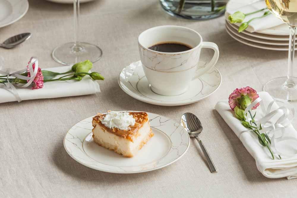 Serwis zestaw kawowy dla 6 osób porcelana MariaPaula Nova Ecru Marble