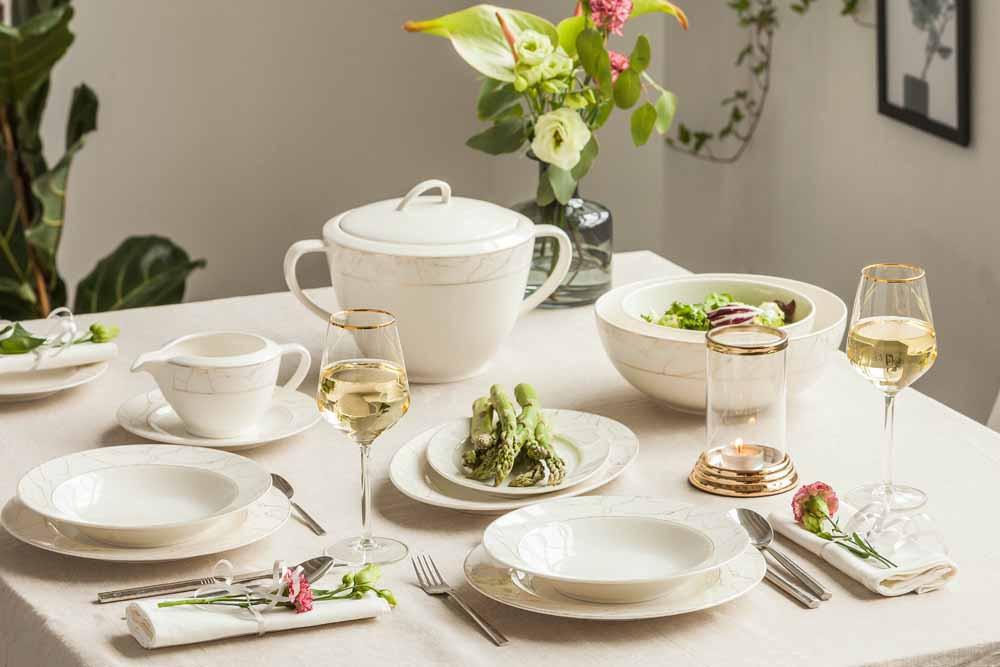 Serwis zestaw obiadowy porcelana MariaPaula Nova Ecru Marble